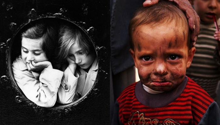 Bambine ebree sulla St. Louis nel 1939 (a sinistra), piccolo rifugiato siriano in un campo profughi
